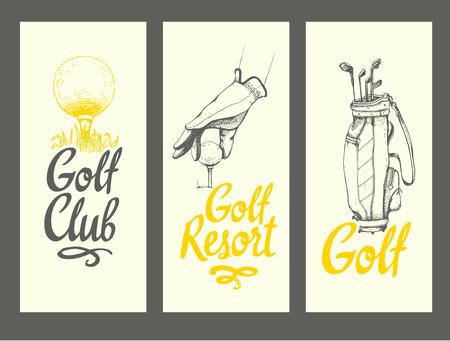 Banner di layout golf con palla, borsa, mazze, guanti. Insieme di vettore dell'attrezzatura sportiva disegnata a mano. Illustrazione in stile schizzo su sfondo bianco. Elementi di calligrafia pennello per il tuo design. Vettoriali