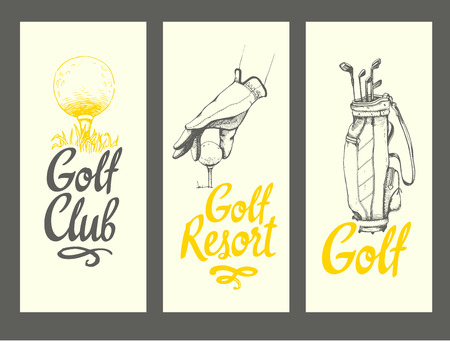 Golf layout banners with ball, bag, clubs, glove. Vector set of hand-drawn sports equipment. Illustration in sketch style on white background. Brush calligraphy elements for your design.