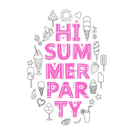 Hi Summer party. Vector Illustration with brush calligraphy vectors for your design. Handwritten ink lettering on white background. Ilustracja
