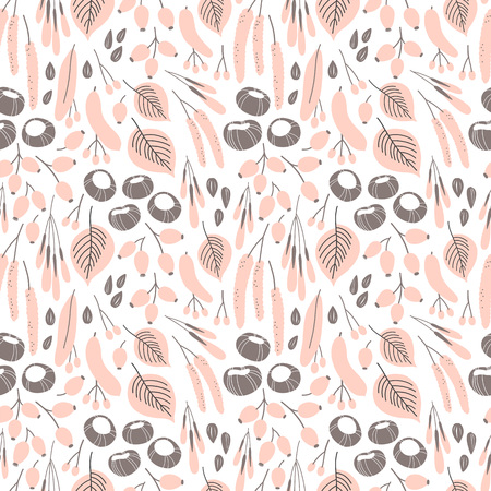 Vector fall seamless pattern on white. Abstract background with floral elements. Natural design. Autumn mood. Фото со стока - 117016538