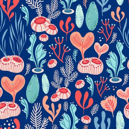 Modèle sans couture de vecteur sur fond bleu avec des algues, des éponges de mer et des coraux. Illustration abstraite avec des éléments floraux. Conception naturelle.