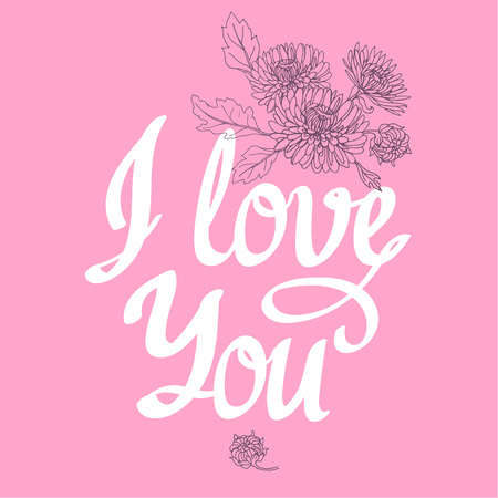 I love you. Vector Illustration with brush calligraphy vectors for your design. Handwritten ink lettering on pink background. Ilustracja
