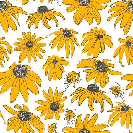 Vector seamless pattern on white. Floral background with flowers elements. Natural design. Illustration