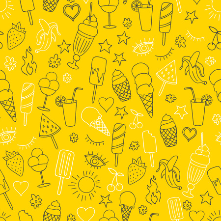 Vector seamless pattern on yellow background with ice cream and ice pop. Line art.