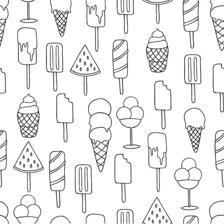 Vector seamless pattern on white background with ice cream and ice pop. Line art. Banco de Imagens - 117016560