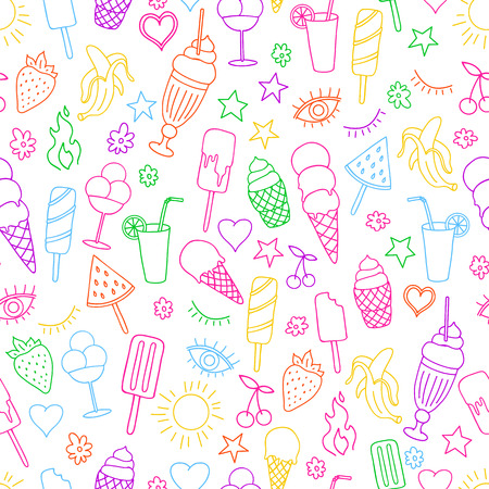 Vector seamless pattern on white background with ice cream and ice pop. Line art.