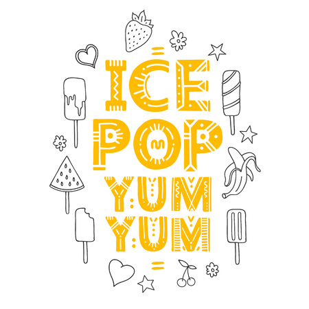 Ice Pop. Vector Illustration with brush calligraphy vectors for your design. Handwritten ink lettering on white background. Ilustracja