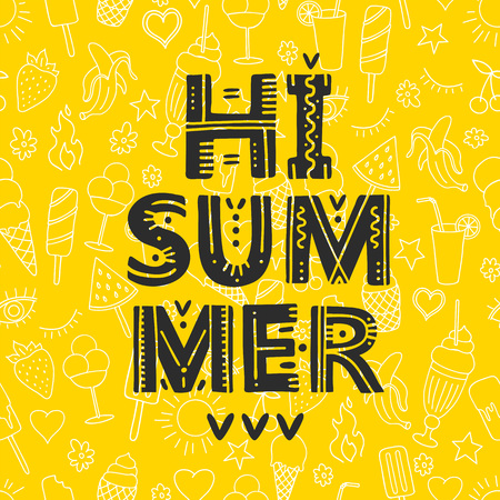 Hi Summer. Vector Illustration with brush calligraphy vectors for your design. Handwritten ink lettering on yellow background.