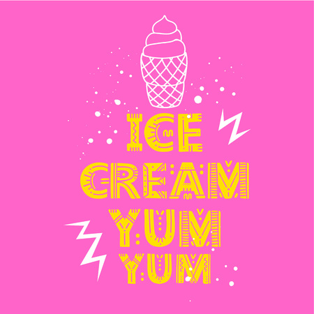 Ice cream poster. Vector Illustration with brush calligraphy vectors for your design. Handwritten ink lettering on white background.