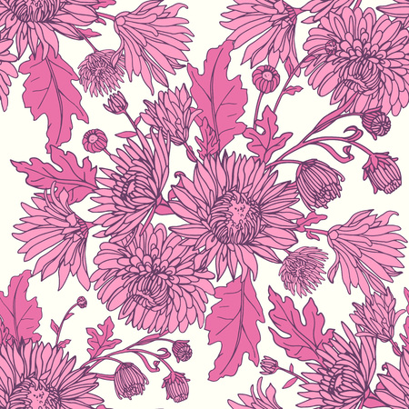 Seamless background with chrysanthemums in sketch style. Beautiful flowers pattern.