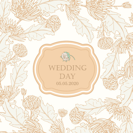 Wreath with chrysanthemums in sketch style. Beautiful flowers decoration. For Wedding day. Ilustrace