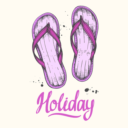 Travel vector illustration with flip flops in sketch style on white background. Brush calligraphy elements for your design. Handwritten ink lettering.