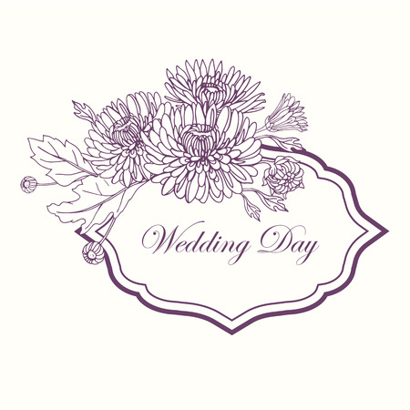 Wreath with chrysanthemums in sketch style. Beautiful flowers decoration. For Wedding day. Illusztráció