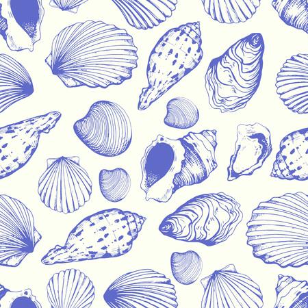 Patrón sin costuras. Ilustración vectorial de conchas marinas dibujadas a mano en estilo boceto sobre fondo blanco. Diseño de playa.