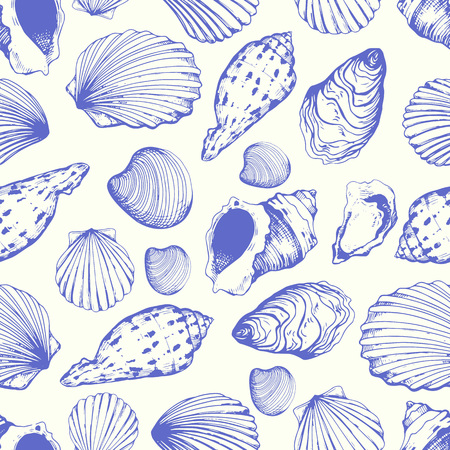 Seamless pattern. Vector Illustration of handdrawn seashells in sketch style on white background. Beach design. Banque d'images - 117979478