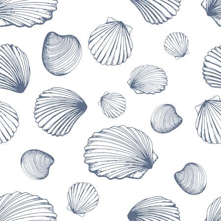 Nahtloses Muster. Vektor-Illustration von handgezeichneten Muscheln im Skizzenstil auf weißem Hintergrund. Strandgestaltung.