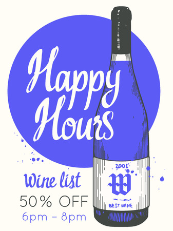 Happy hours poster. Vector illustration with bottle of wine in sketch style for bar. Drink menu for celebration. Special offer. Stock Illustratie