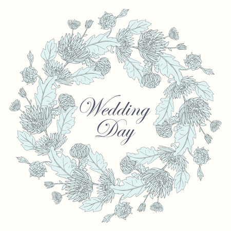 Wreath with chrysanthemums in sketch style. Beautiful flowers decoration. For Wedding day. Ilustração