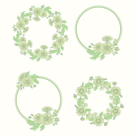Wreath with chrysanthemums in sketch style. Beautiful flowers decoration. Frame set.