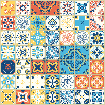 Seamless pattern with with Portuguese tiles. Vector illustration of Azulejo on white background. Mediterranean style. Multicolor design. Иллюстрация