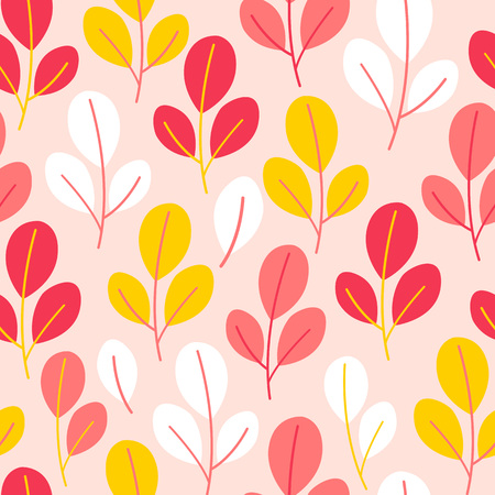 Vector seamless pattern on pink colorwith leaves and branch. Abstract background with floral elements. Natural design.