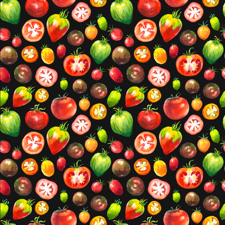 Vegetables watercolor set. Seamless pattern. Fresh organic food. Set of different kinds of tomatoes: green, orange and red colors. Simple painting sketch. 스톡 콘텐츠 - 119616538