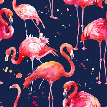 Watercolor seamless pattern on dark blue background. Illustration with pink flamingo. Tropical bird. Paradise. Stock Photo