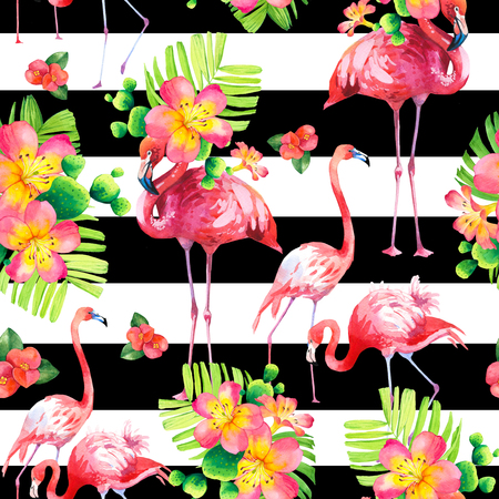 Watercolor seamless pattern on striped Stock Photo