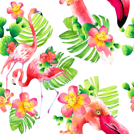Watercolor seamless pattern on white