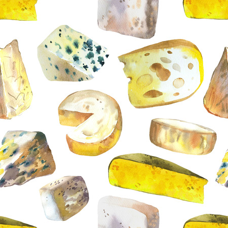 Seamless watercolor  with different noble cheeses