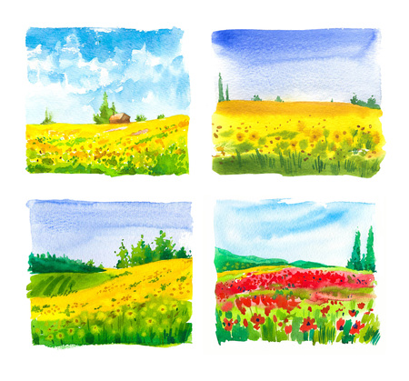 Set of watercolor  with landscape sunflower and poppy fields.