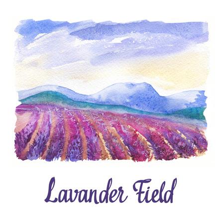Aquarelle avec paysage de champ de lavande.
