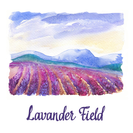 Watercolor  with landscape of lavender field.