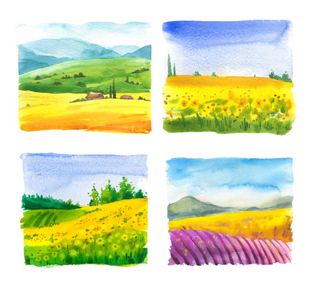 Set of watercolor  with landscape sunflower and lavender fields.
