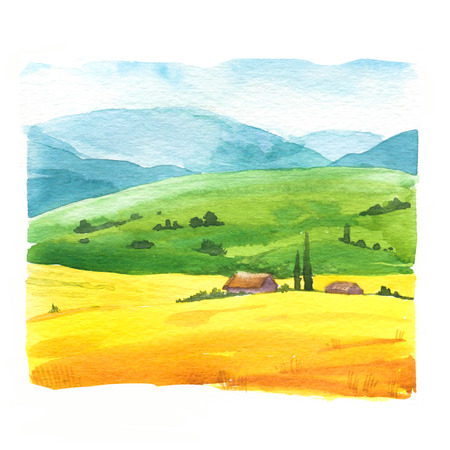 Watercolor  with landscape field.