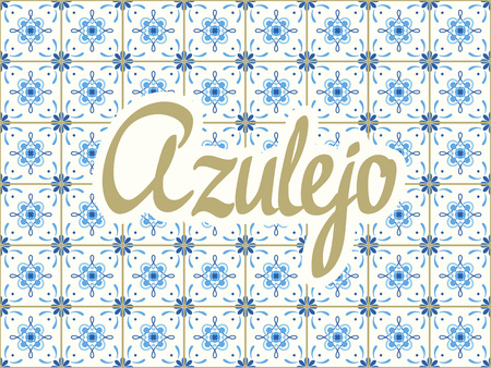 Seamless pattern with portuguese tiles. Vector blue illustration of Azulejo on white background. Mediterranean style.