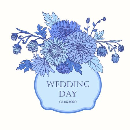 Wreath with chrysanthemums in sketch style. Beautiful flowers decoration. For Wedding day. Illustration