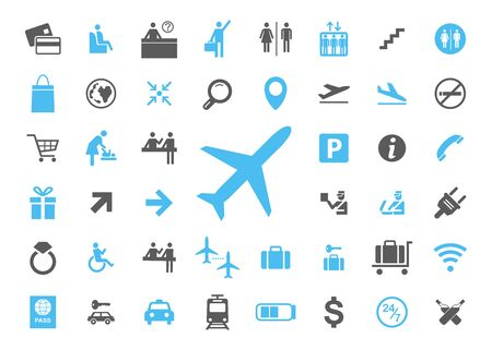 Icon airport set. Vector illustrations with trip simbols.
