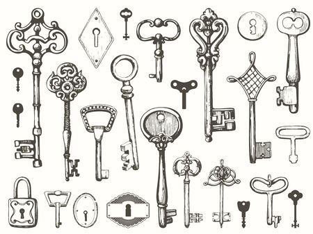 Ensemble de vecteur de clés antiques dessinés à la main. Illustration dans le style de croquis sur fond blanc. Conception ancienne Vecteurs