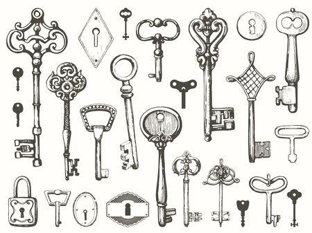 Vektorsatz von handgezeichneten antiken Schlüsseln. Illustration im Skizzenstil auf weißem Hintergrund. Altes Design Vektorgrafik