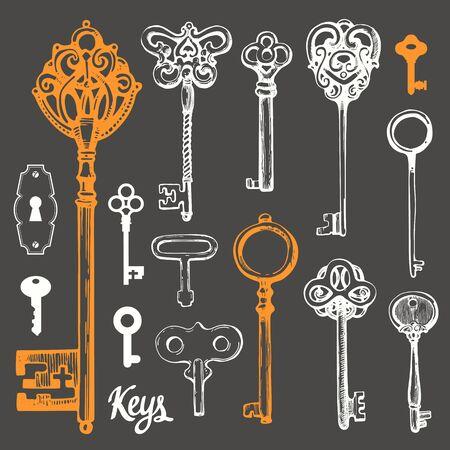 Vector set of hand-drawn antique keys. Illustration in sketch style on black background. Old design Иллюстрация