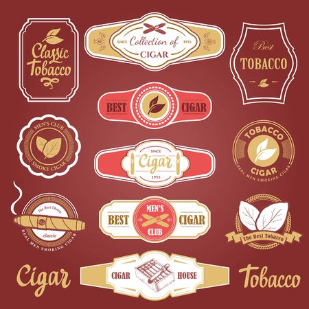 Vector Illustration with logo and labels. Simple symbols tobacco, cigar. Traditions of smoke. Decorative elements, icon for your design. Gentleman style. Imagens - 127670922
