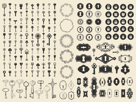 Vector illustration with design elements for decoration. Big silhouettes and icon set of keys, locks, old keyhole on black background. Vintage style.