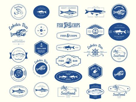 Vector Illustration with logo for fish restaurant or fish market. Logo set for fish restaurant or bar with a picture of the fish. Blue sings on white background. Imagens - 127670931