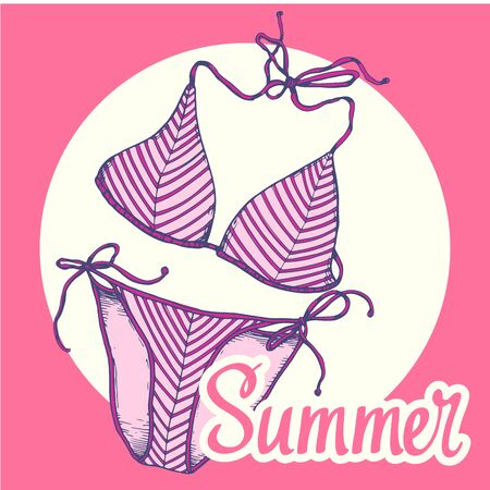 Travel vector illustration with swimming suit in sketch style on pink background. Brush calligraphy elements for your design. Handwritten ink lettering.