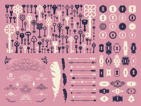 Vector illustration with design elements for decoration. Big silhouettes set of keys, locks, crown, boarders, arrows, feathers on pink background. Vintage style.
