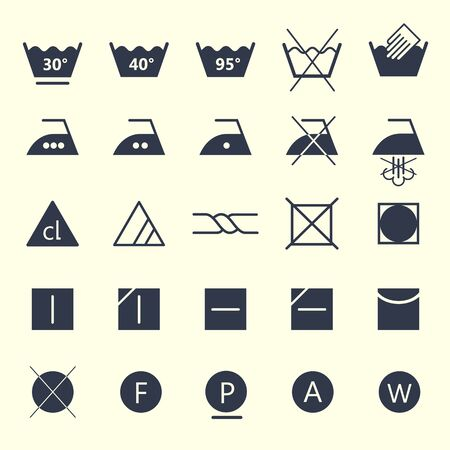Icon set of laundry symbols, vector illustration Archivio Fotografico - 127670945