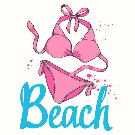 Travel vector illustration with swimming suit in sketch style on white background. Brush calligraphy elements for your design. Handwritten ink lettering. Stock Vector - 127670946