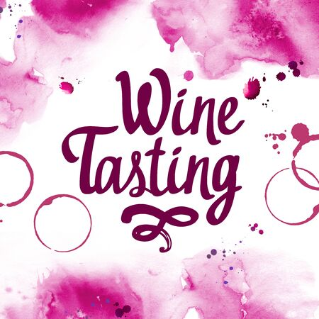 Watercolor illustration with pour red wine and traces of glass for drink list. Violet poster. Tasting party. Brush calligraphy illustrations for your design. Handwritten ink lettering. Imagens - 127670949