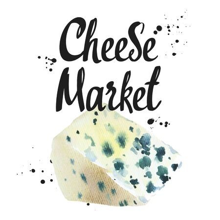 Watercolor illustrations with noble cheeses: blue, roquefort. Snack bar. Farm dairy products. Fresh organic food.